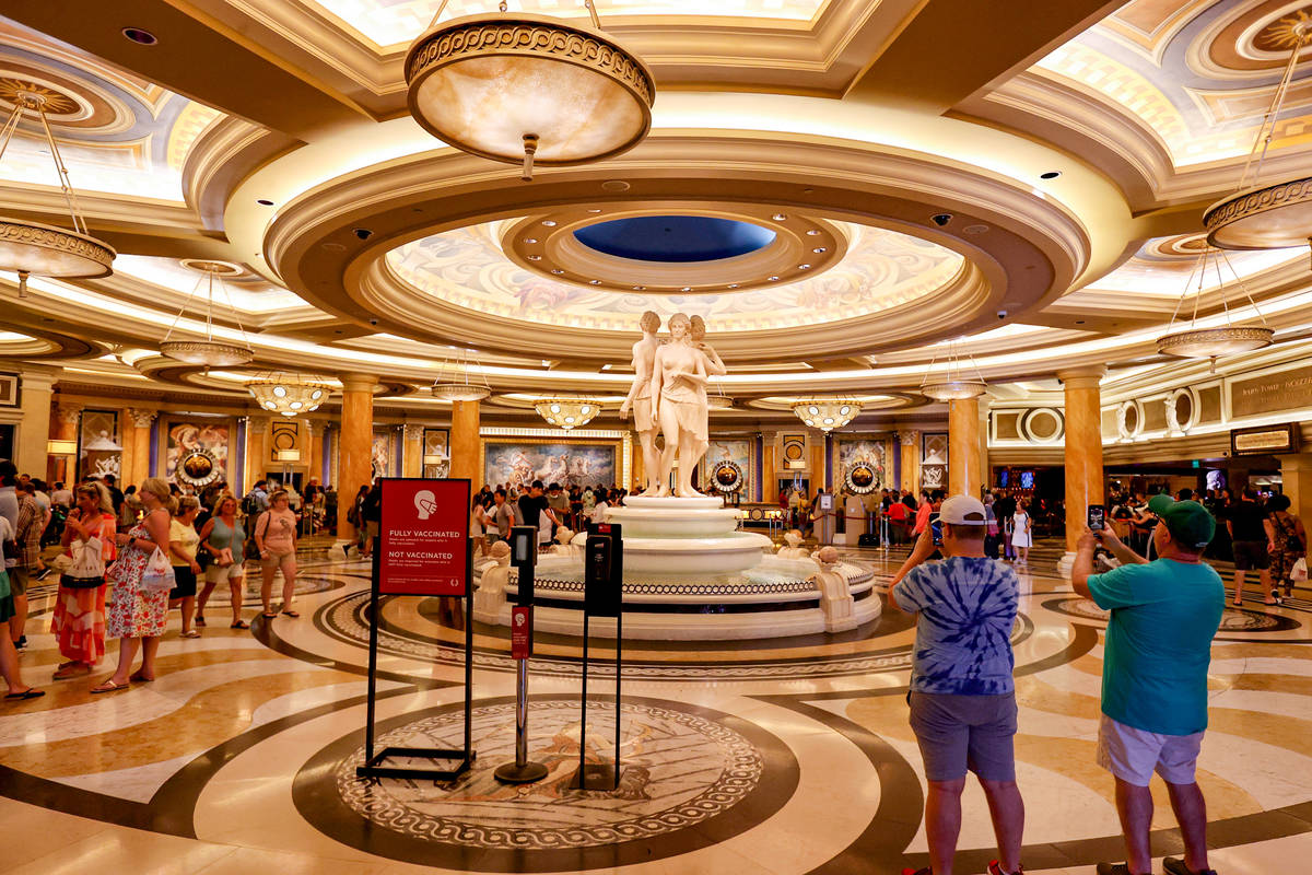 The hotel registration lobby at Caesars Palace on the Las Vegas Strip Tuesday, June 6, 2021. Ca ...