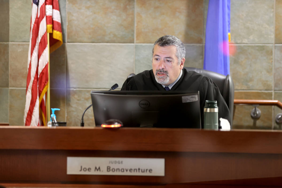 Justice of the Peace Joe Bonaventure presides in court at the Regional Justice Center in Las Ve ...