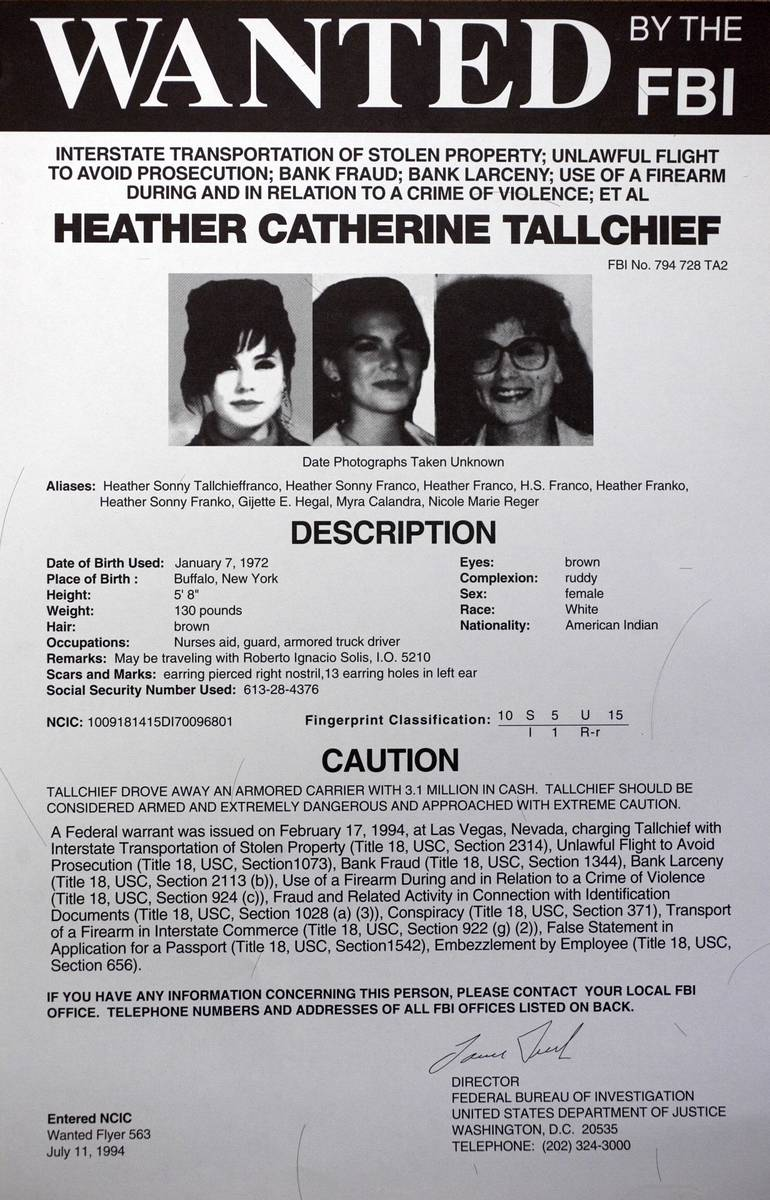 A FBI wanted poster for former fugitive Heather Catherine Tallchief is shown. Tallchief, wanted ...
