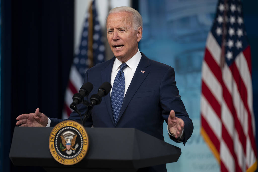 President Joe Biden speaks about the COVID-19 vaccination program during an event in the South ...