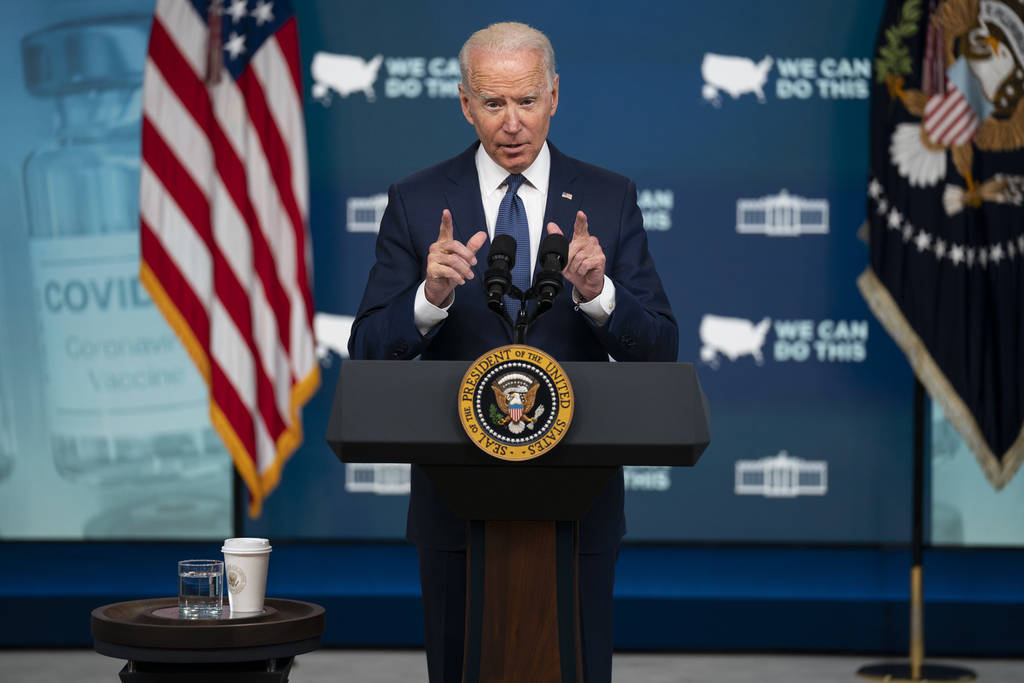 President Joe Biden speaks about the COVID vaccination program during an event in the South Cou ...