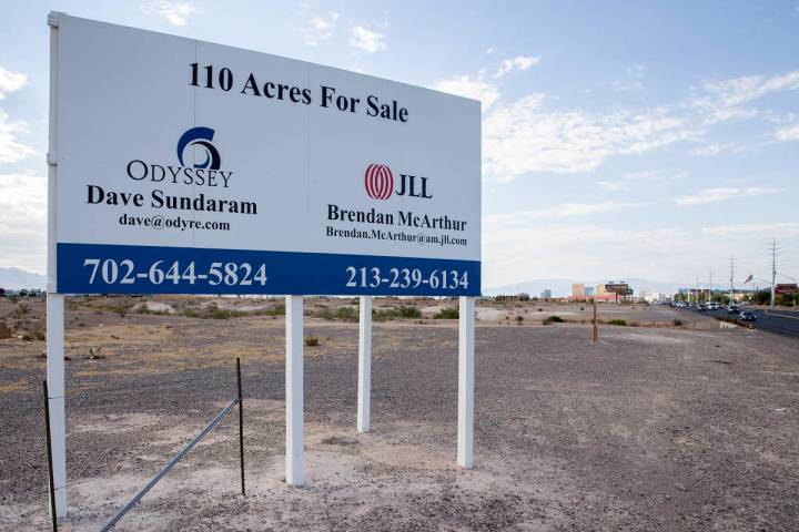 A parcel of land purchased by Brightline West on the west side of Las Vegas Boulevard between W ...