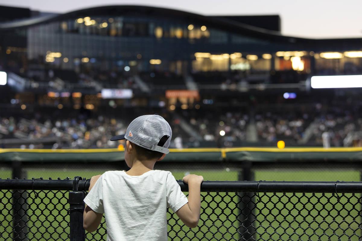 Luke Roa, 6, enjoys the Las Vegas Aviators game against the Sacramento River Cats from the stan ...