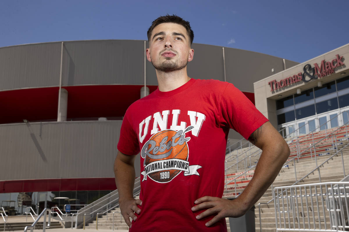 UNLV point guard Jordan McCabe poses for a portrait outside of the Thomas & Mack Center in ...
