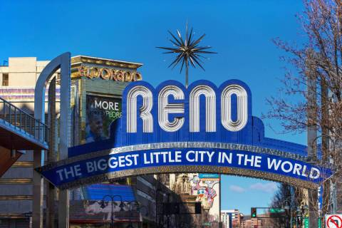 Downtown Reno on Tuesday, Jan. 19, 2021. (Benjamin Hager/Las Vegas Review-Journal) @benjaminhphoto