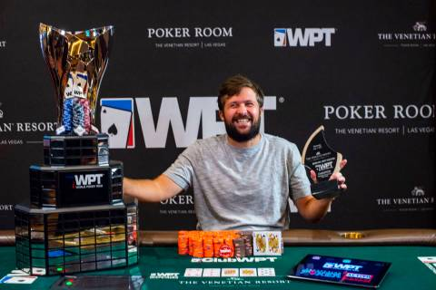 Chad Eveslage after winning a World Poker Tour event at The Venetian on Wednesday, July 7, 2021 ...