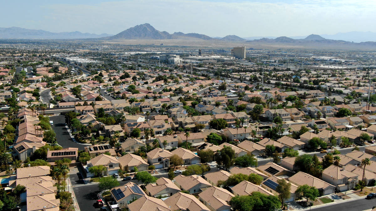 An aerial view of housing near American Pacific Drive in Henderson, Nevada on Tuesday, June 8, ...