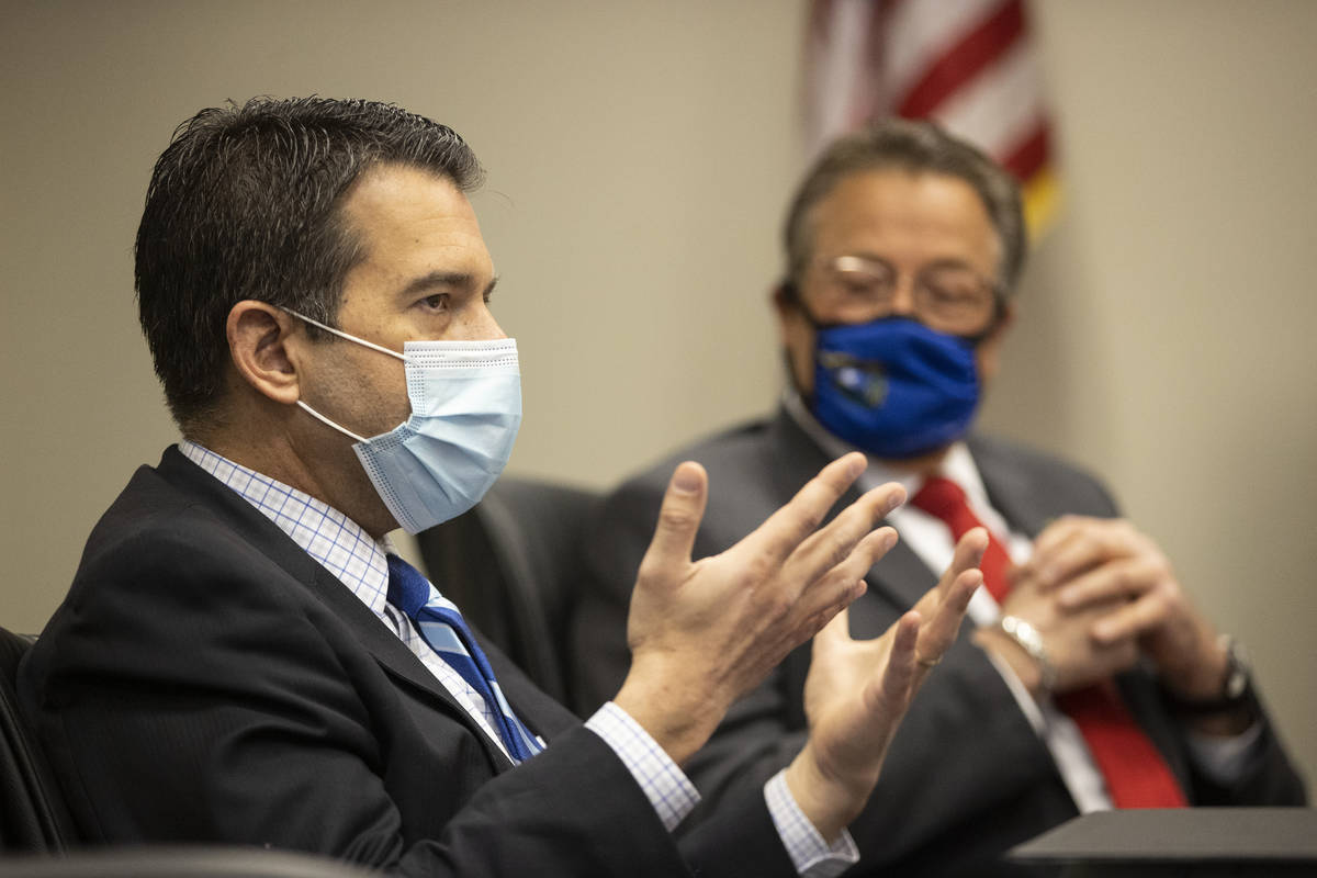 FILE--Brin Gibson, left, chair of the Nevada Gaming Control Board, and John Moran, chairman of ...