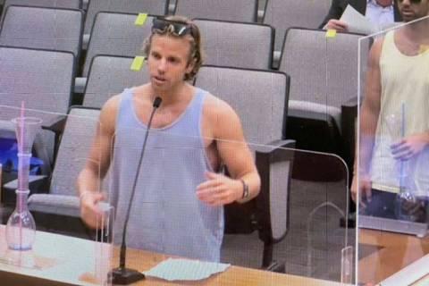 Chad Kroeger speaks during the North Las Vegas City Council meeting. (Blake Apgar)