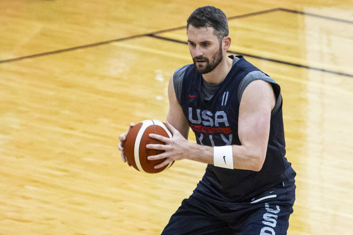 Kevin Love trains during the first day of USA Basketball practice, ahead of the OIympics, at Me ...