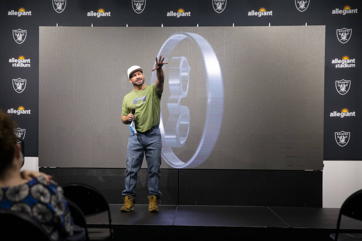 Garth Brooks speaks during a press conference on his music tour at Allegiant Stadium in Las Veg ...