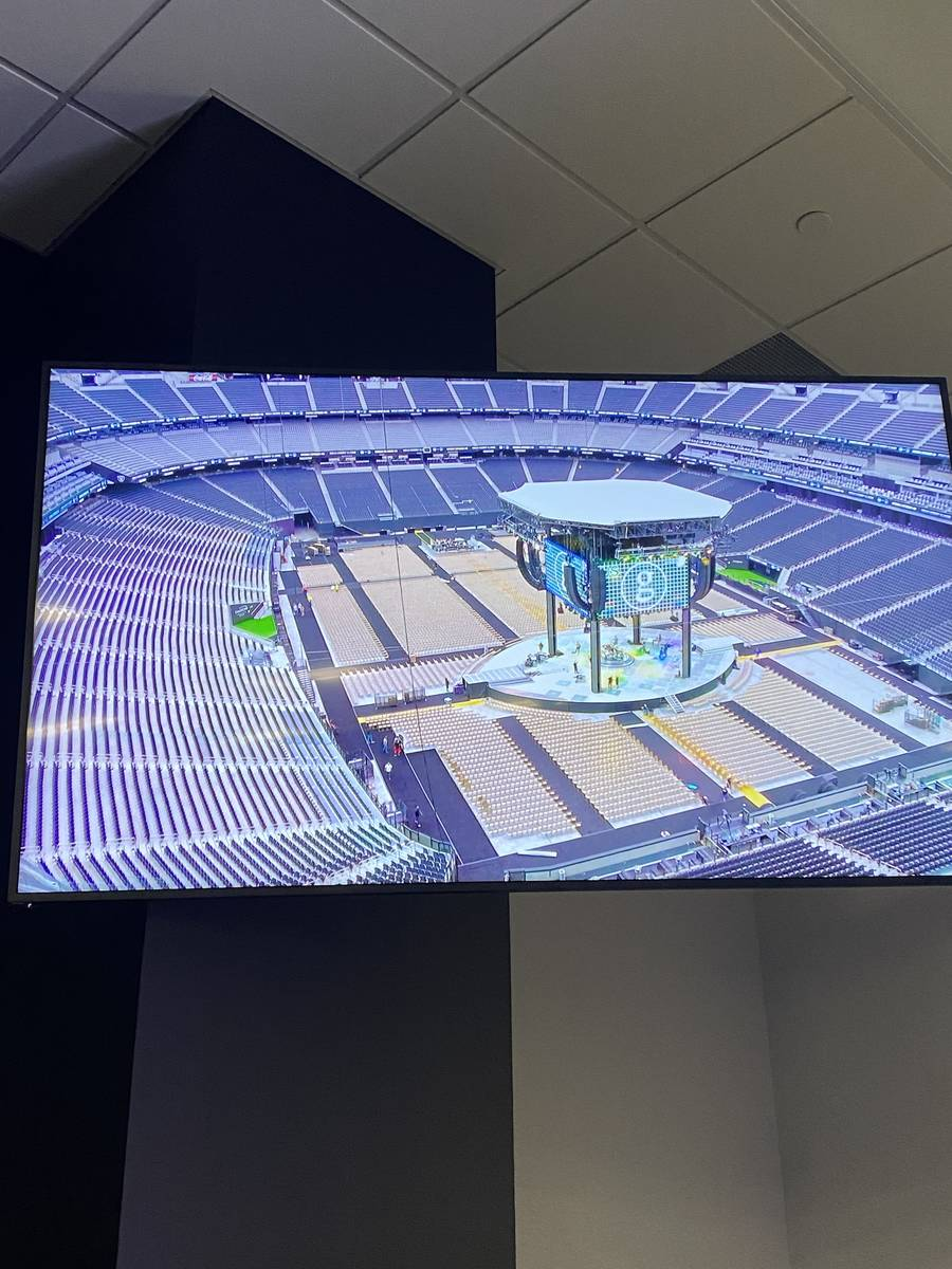 Garth Brooks' stage is shown on a video monitor during Brooks' press conference at Allegiant St ...
