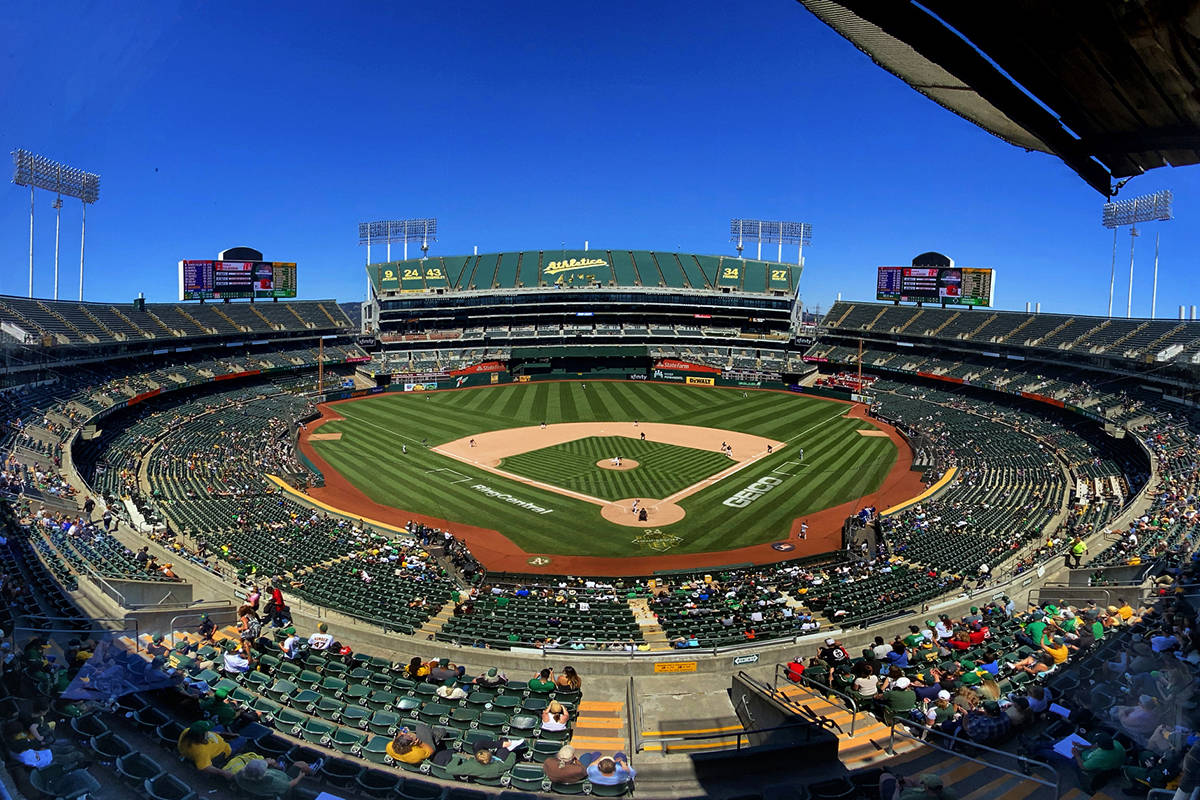 The Oakland AÕs battle the Texas Rangers at the RingCentral Coliseum on Thursday, July 1, ...