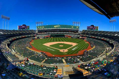 The Oakland A's battle the Texas Rangers at the RingCentral Coliseum on Thursday, July 1, 2021, ...