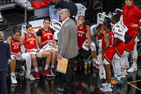 Las Vegas Aces coach Bill Laimbeer and his team are shown during a game Friday, July 9, 2021, a ...