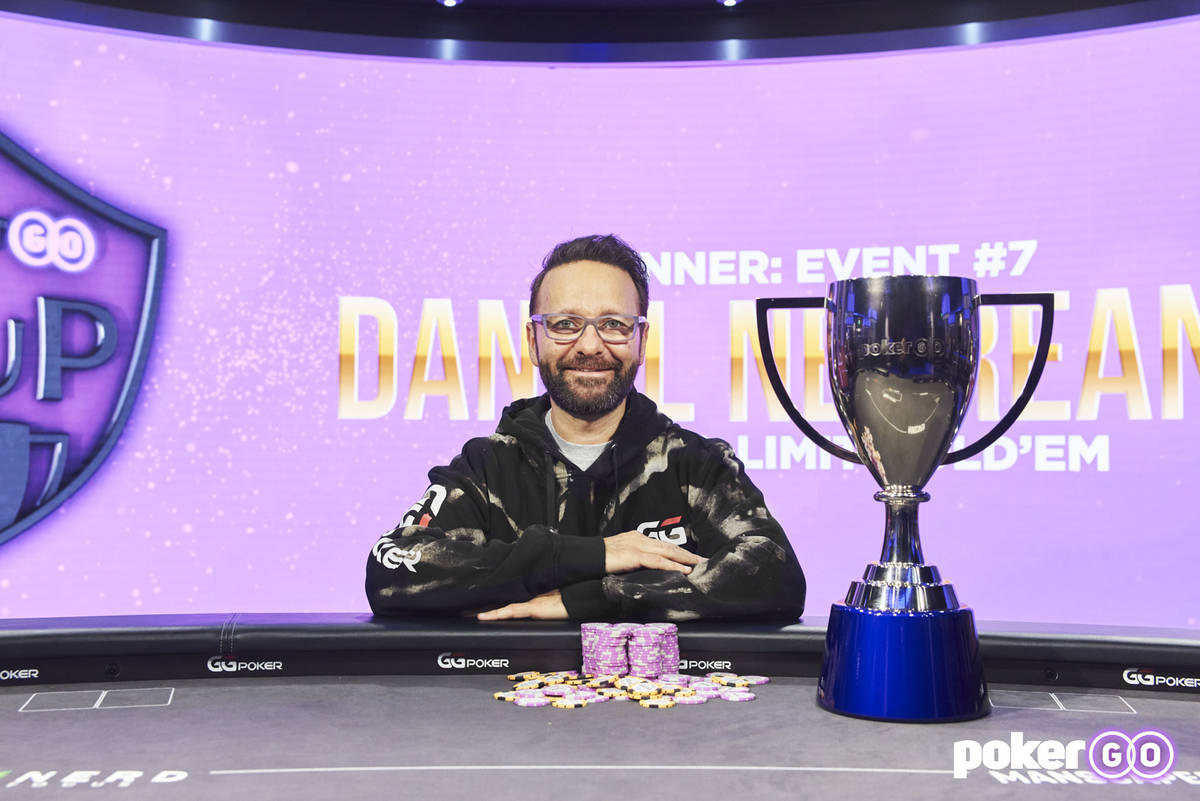 Daniel Negreanu after winning the $50,000 buy-in event of the PokerGO Cup on Tuesday, July 13, ...
