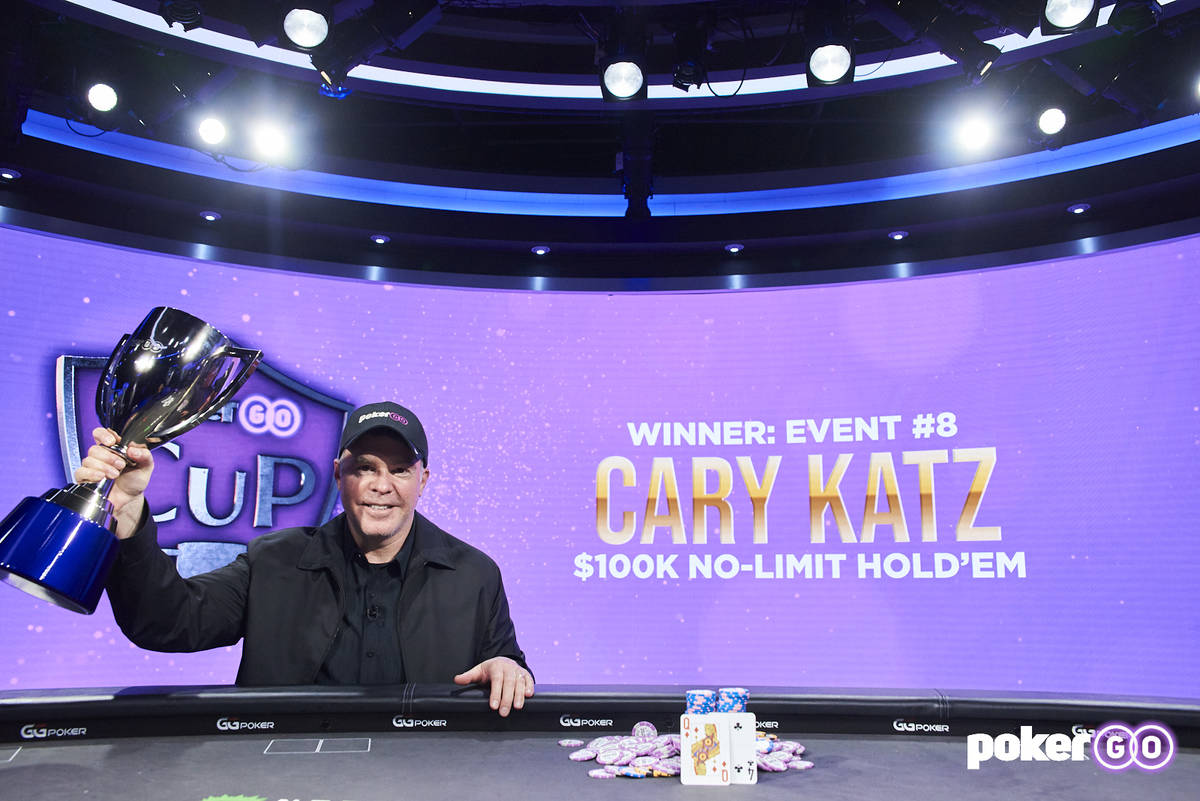 Cary Katz after winning the $100,000 buy-in PokerGO Cup Main Event on Wednesday, July 14, 2021, ...
