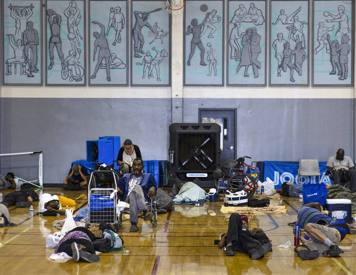Clients sleep on the floor at Dula Community Center, on Monday, July 12, 2021, in Las Vegas. Th ...