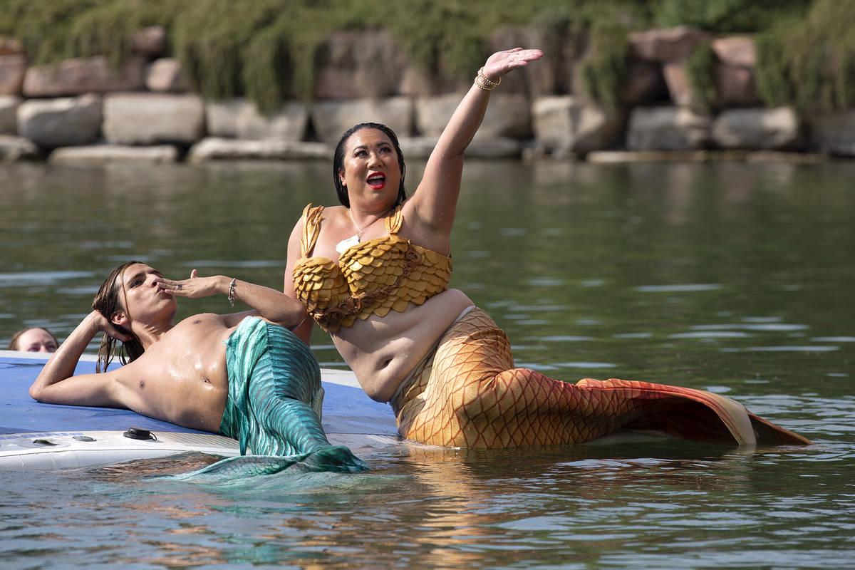 Mermaids pose at Lake Las Vegas on Saturday, June 19, 2021, in Henderson. (Ellen Schmidt/Las Ve ...