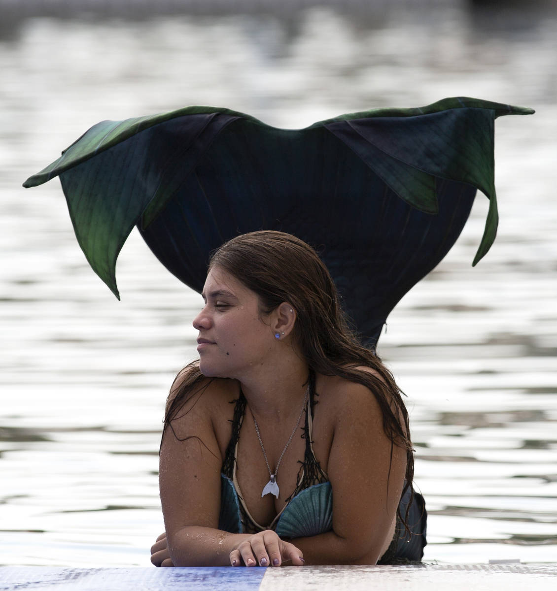 A mermaid enjoys the sun and water at Lake Las Vegas on Saturday, June 19, 2021, in Henderson. ...