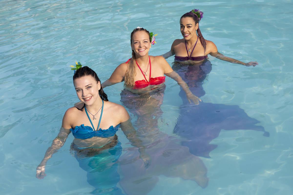 Mermaid Nami -- Jenna Obman -- left, Mermaid CaySea -- Casey McConachie -- and Mermaid Luna -- ...
