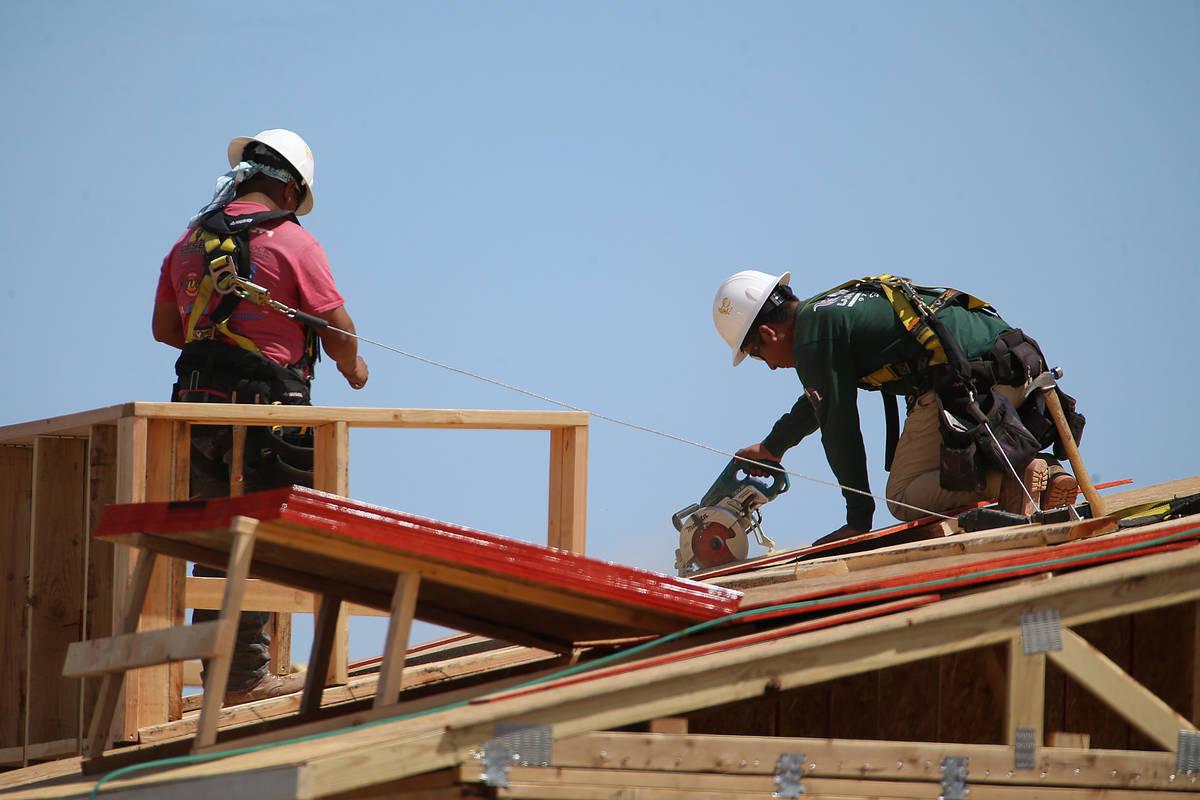 New home construction in Skye Canyon community in Las Vegas, Thursday, April 16, 2020. (Erik Ve ...