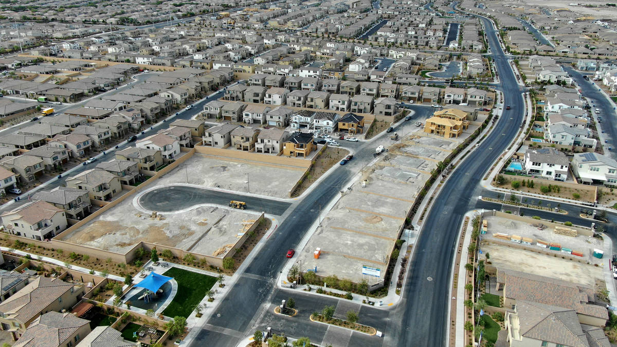 An aerial view of new home construction at Woodlands at Skye Canyon, a housing development near ...