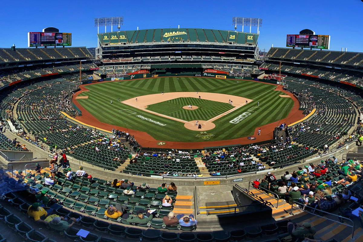 The Oakland A's battle the Texas Rangers at the RingCentral Coliseum on Thursday, July 1, 202 ...