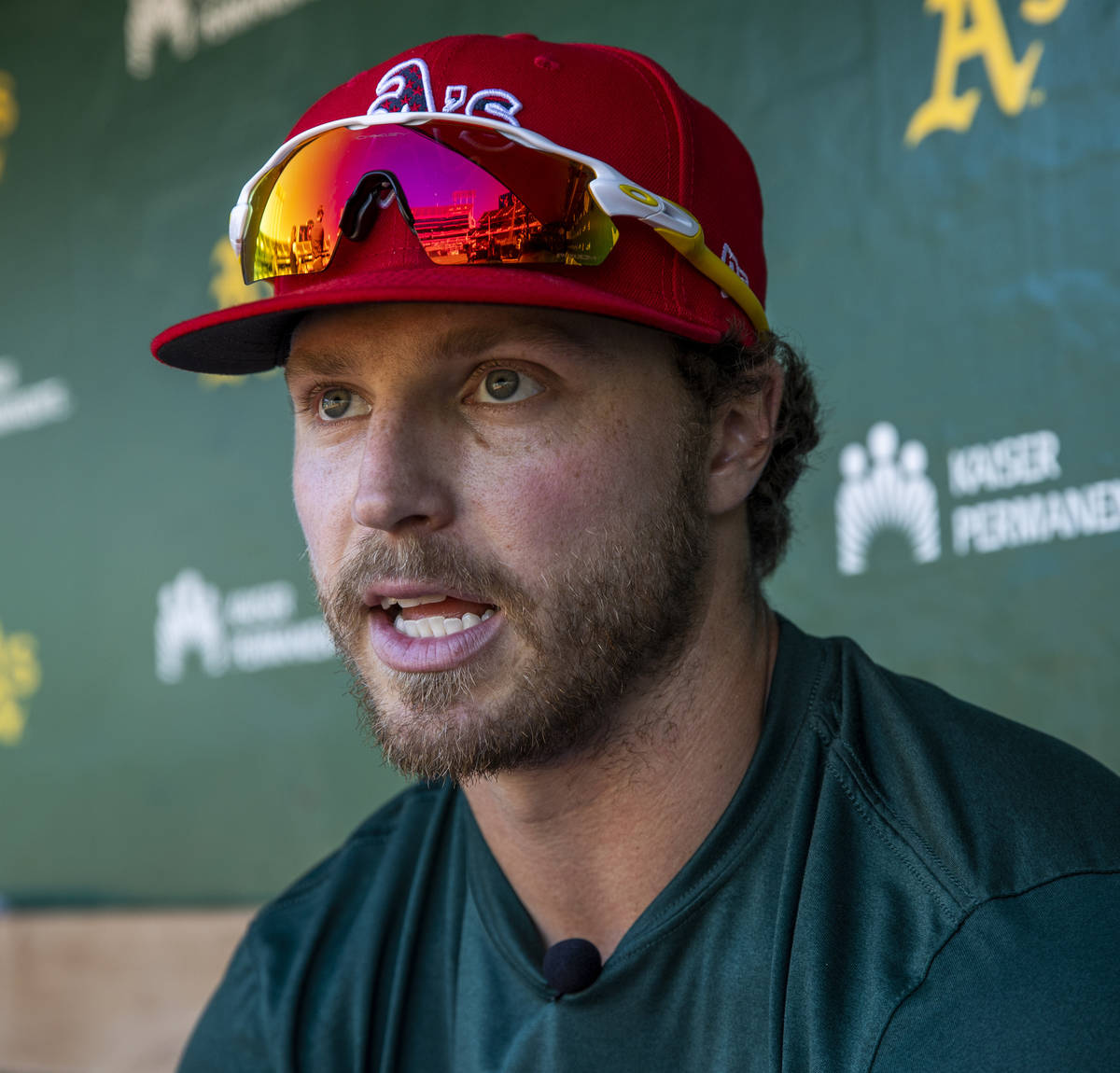 Oakland A's Skye Bolt (49) talks about a possible team move to Las Vegas before a game versus ...