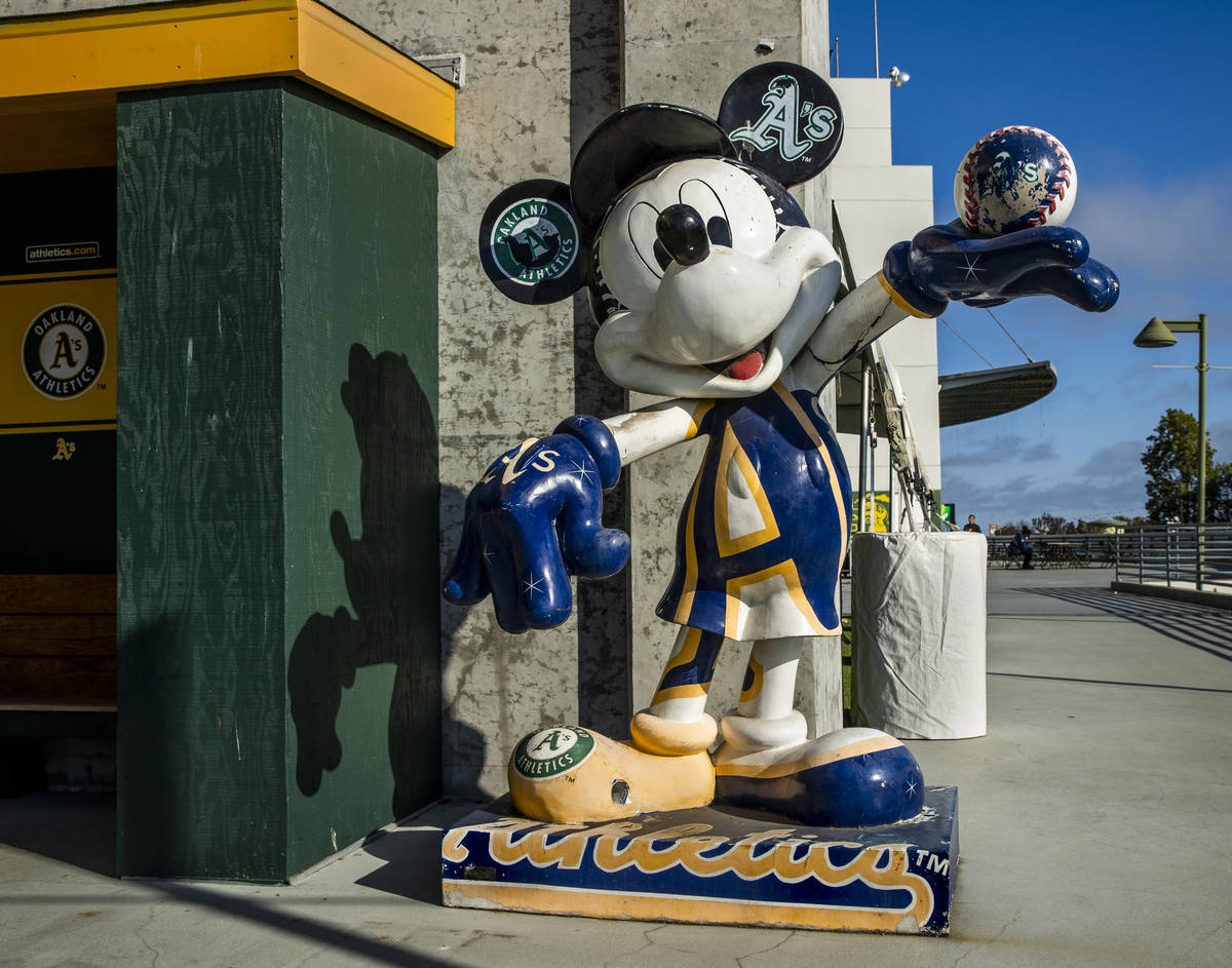 Mickey Mouse as an Oakland A's fan is memorialized in statue form outside the concourse ...