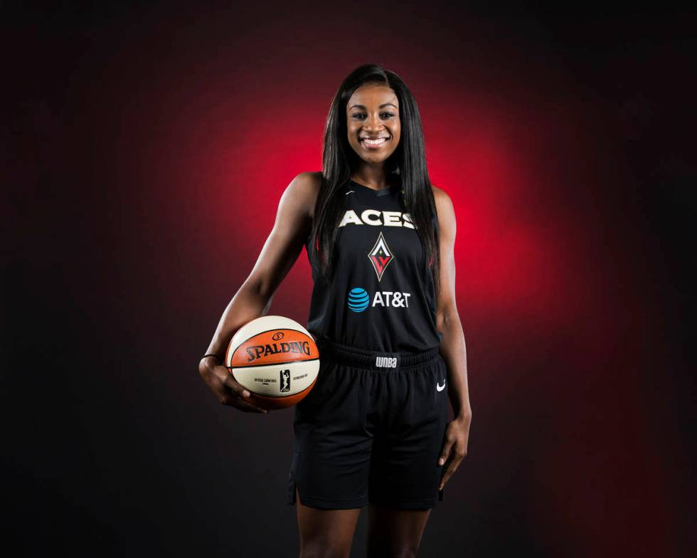 Aces guard Jackie Young during media day on Monday, May 13, 2019, at Mandalay Bay Events Center ...