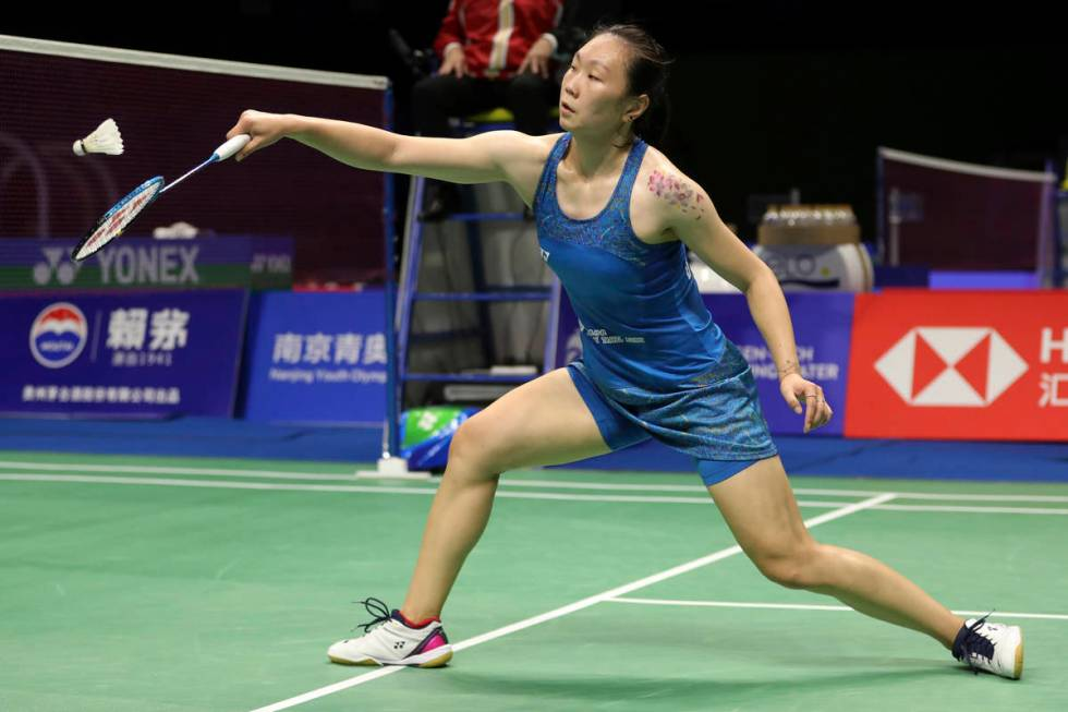 Beiwen Zhang of the United States plays a shot against Tai Tzu-ying of Taiwan during their wome ...