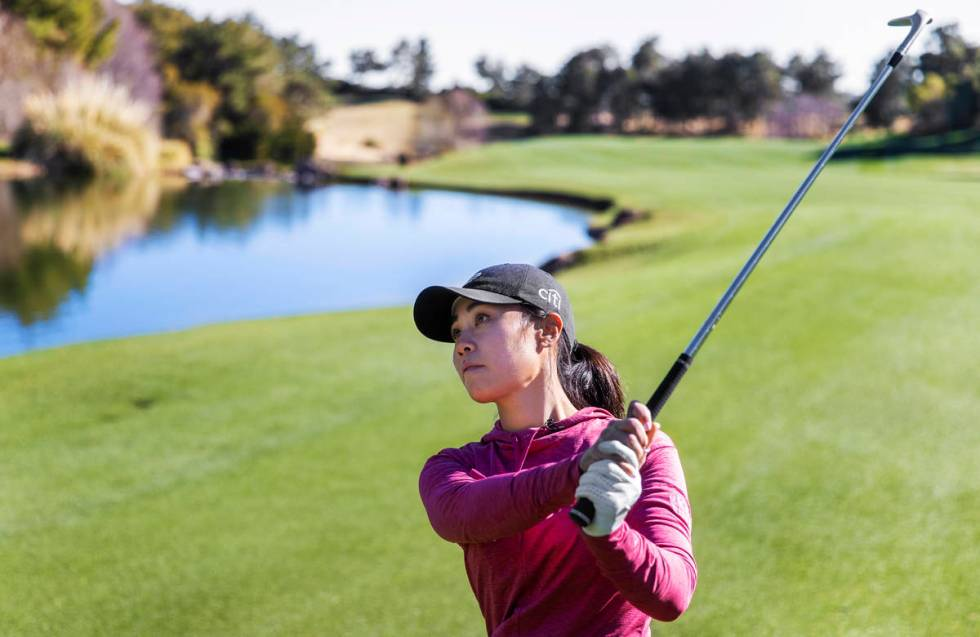 Las Vegas resident Danielle Kang, ranked in the top 5 on the LPGA Tour, plays the 18th hole at ...