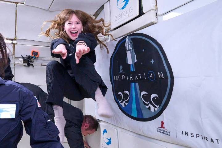 Inspiration 4 crew member Haley Arceneaux trained Sunday at McCarran International Airport. (Ze ...