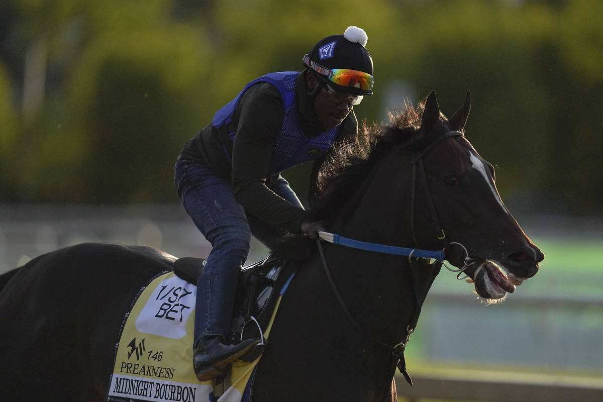 Preakness entrant Midnight Bourbon works out during a training session ahead of the Preakness S ...