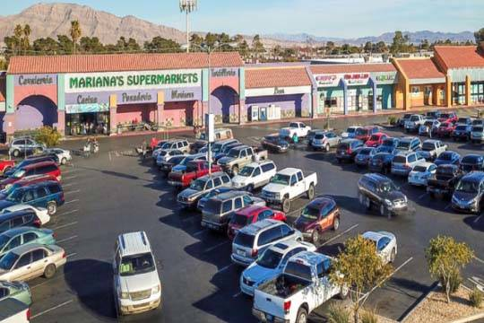 Agora Realty & Management said it acquired Las Vegas strip mall Bonanza Eastern Plaza, seen her ...