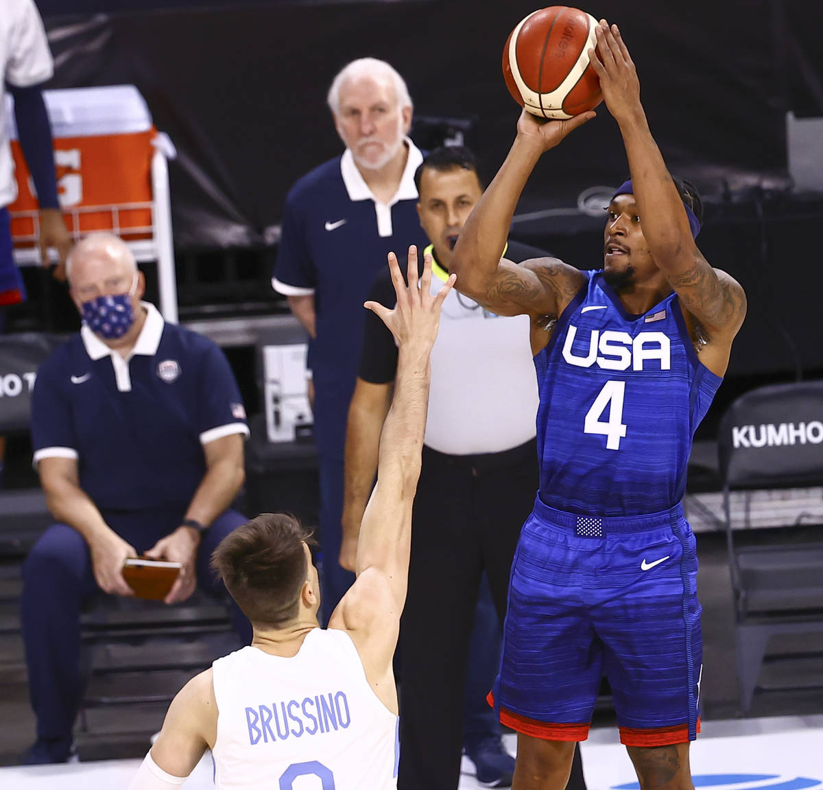 USAÕs Bradley Beal (4) shoots against Argentina during the first half of an exhibition bas ...