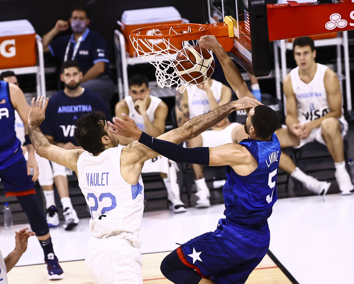 during the second half of an exhibition basketball game ahead of the Tokyo OIympics at Michelob ...