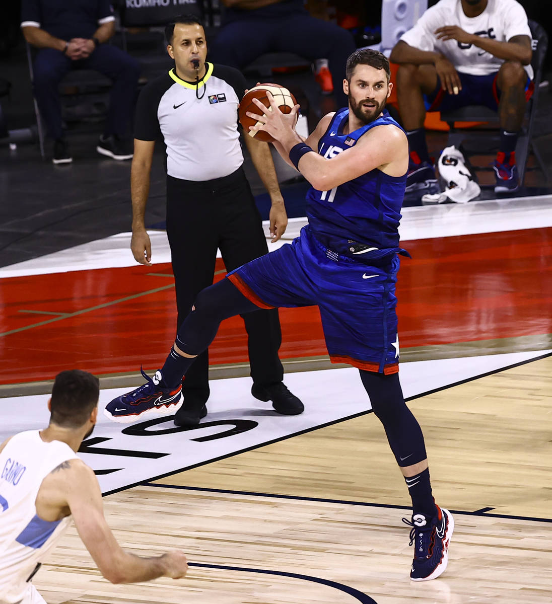 USAÕs Kevin Love (11) grabs a rebound during the second half of an exhibition basketball g ...
