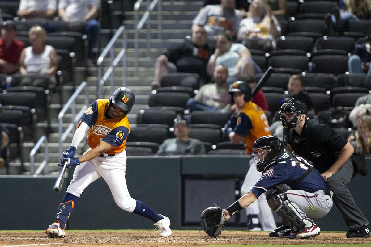 Aviators infielder Vimael Machin swings against the Reno Aces during a minor league baseball ga ...