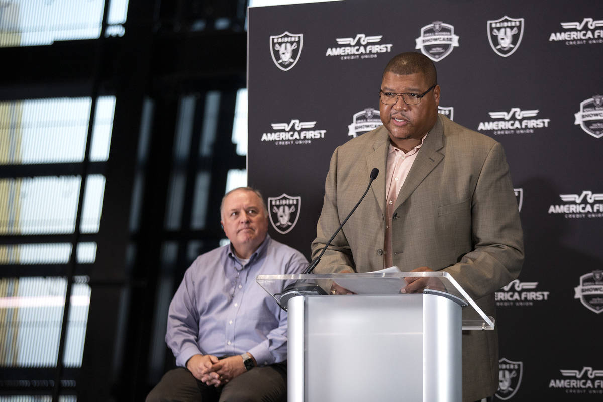 Lincoln Kennedy, a Raiders' alumnus and small business owner, emcees the announcement of the wi ...