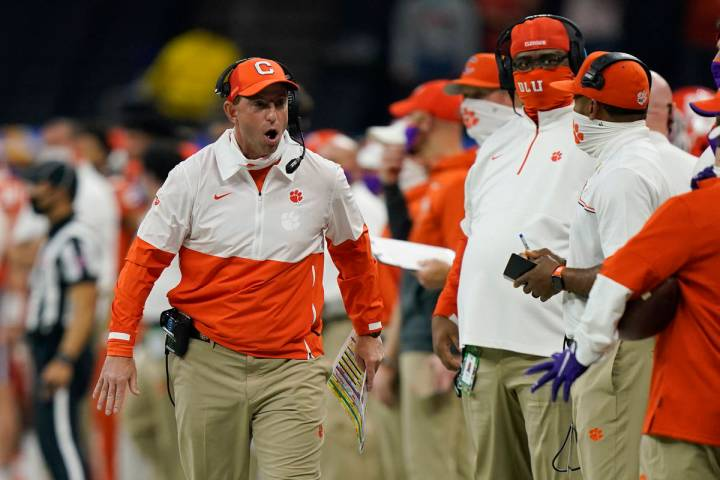 Clemson coach Dabo Swinney yells during the first half of the Sugar Bowl NCAA college football ...
