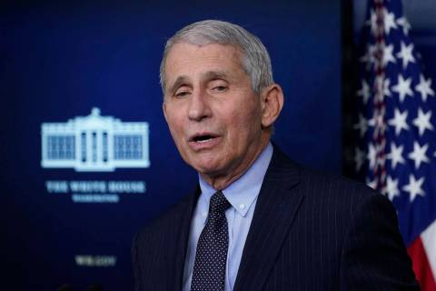 In this Jan. 21, 2021, photo, Dr. Anthony Fauci, director of the National Institute of Allergy ...