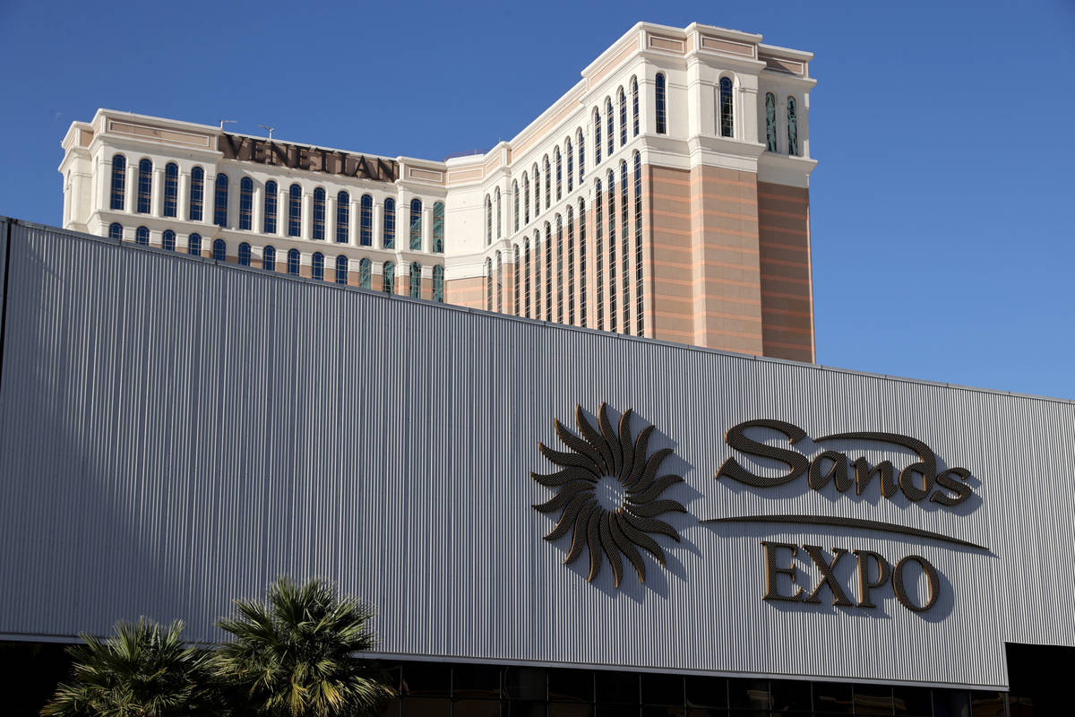This March 3, 2021, file photo shows The Venetian and Sands Expo on the Strip in Las Vegas. (K. ...