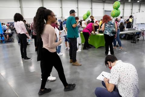 People seeking employment attend a summer job fair hosted by Clark County at Las Vegas Conventi ...