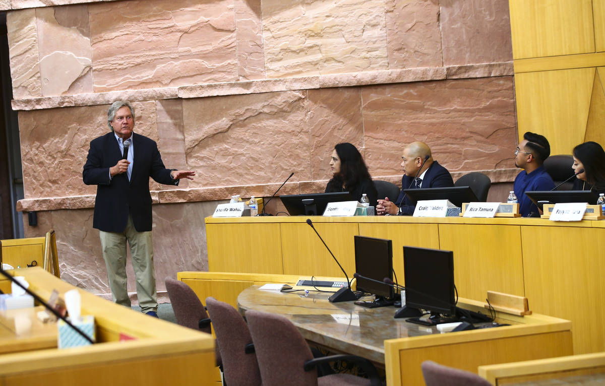Clark County Commissioner Tick Segerblom speaks during the inaugural meeting of the 15-member A ...