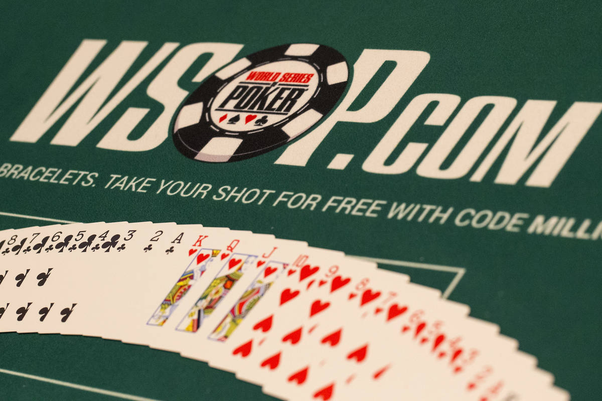 A deck of cards on a table on day one of the main event during the World Series of Poker tourna ...