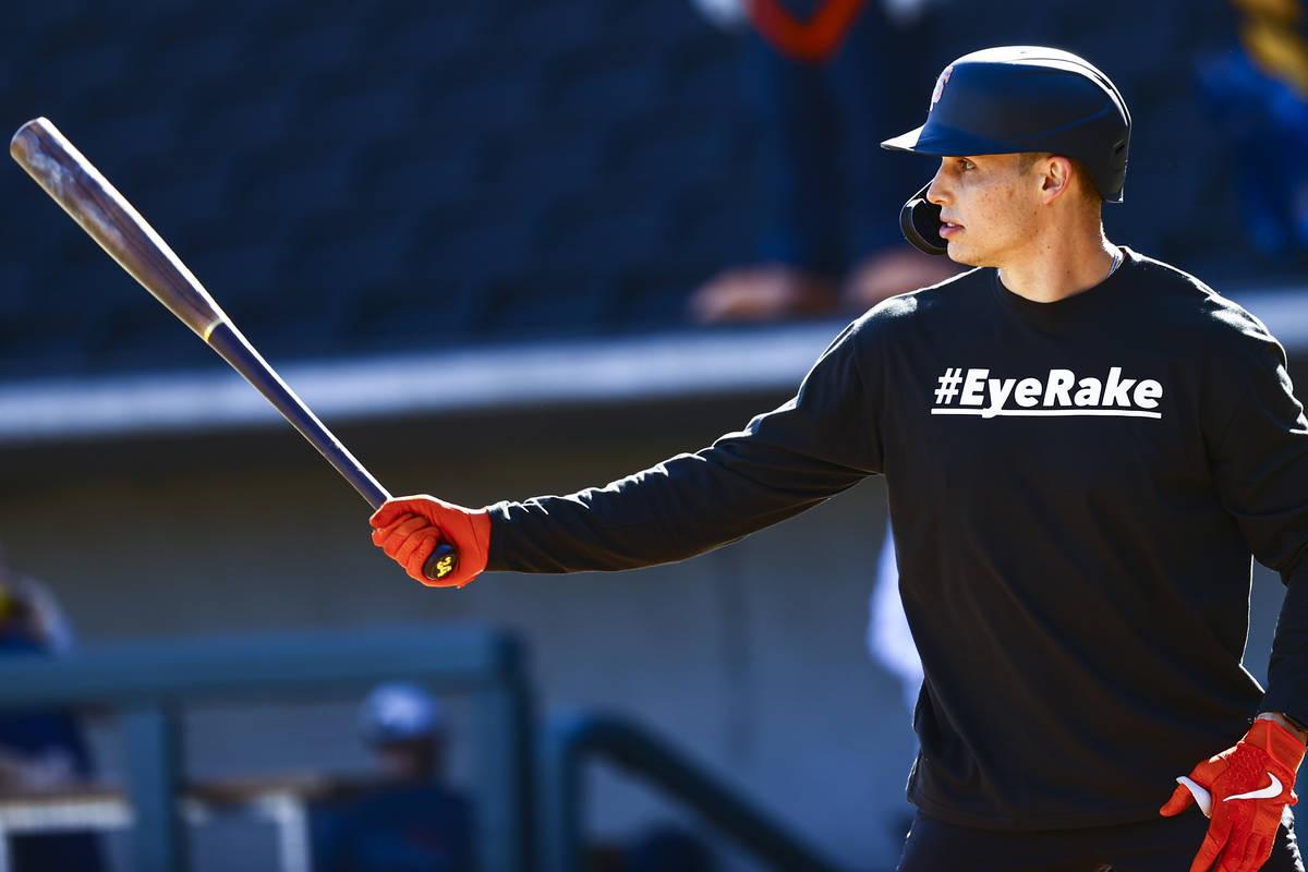 San Francisco Giants' Drew Robinson participates in batting practice at the Las Vegas Ballpark ...