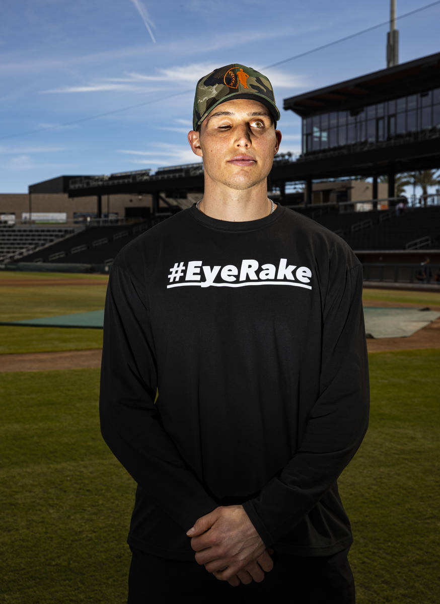 San Francisco Giants' Drew Robinson poses for a portrait after batting practice at the Las Vega ...