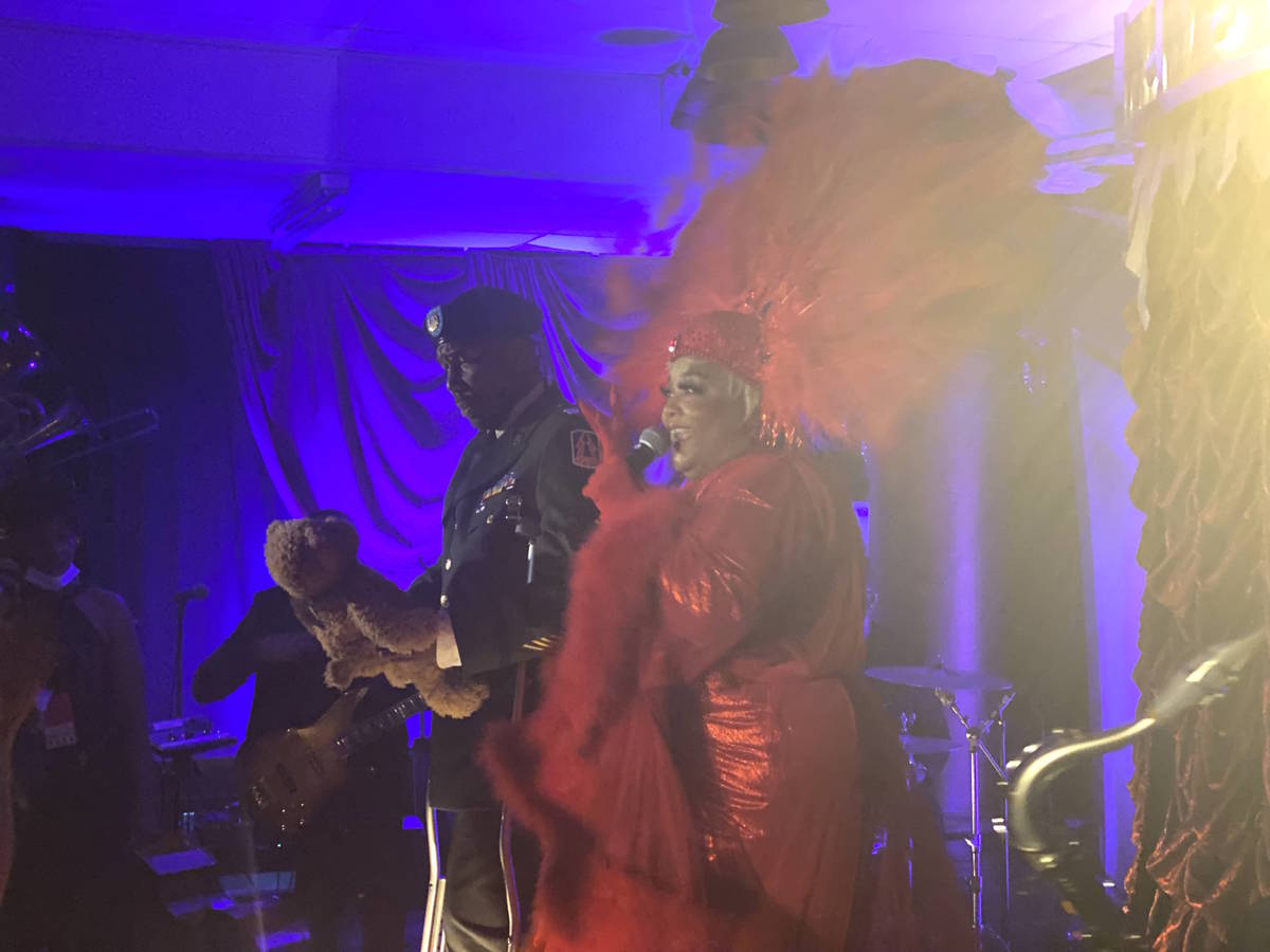 Las Vegas artists Skye Dee Miles and Eric Jordan Young are shown at Backstory, the pre-show of ...